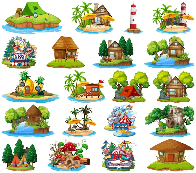 Set of different bangalows and island beach theme and amusement park isolated Free Vector