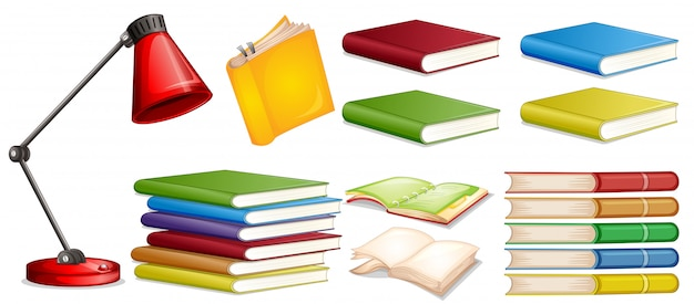 Set of different book Free Vector