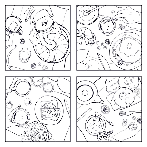 Set of different breakfast, top view. square illustrations with luncheon. healthy, fresh brunch drink, pancakes, sandwiches, eggs, croissants and fruits. black and white hand drawn   collection. Premium Vector