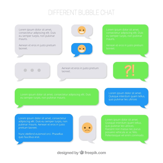 Set of different bubbles chat for messenger app Free Vector