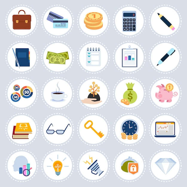Set different business icons concept symbols collection flat isolated Premium Vector
