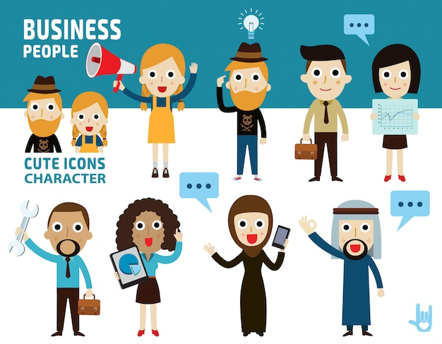 Set of different business people. Premium Vector