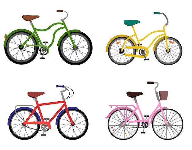 Set of different bycicles. urban bikes in flat style. Premium Vector