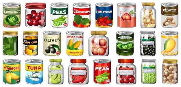 Set of different canned food and food in jars isolated Free Vector