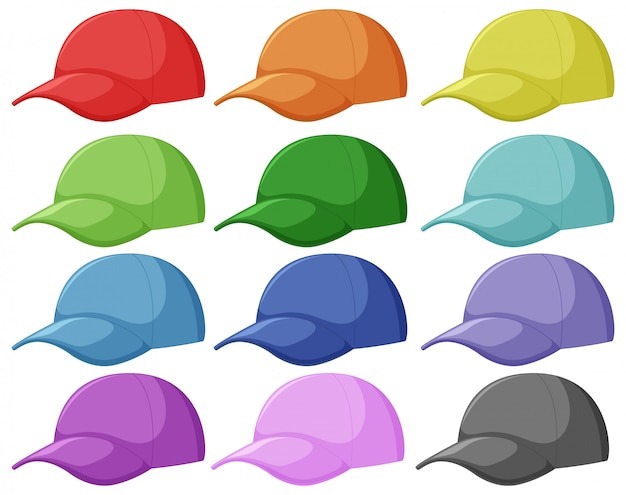 Set of different cap Free Vector