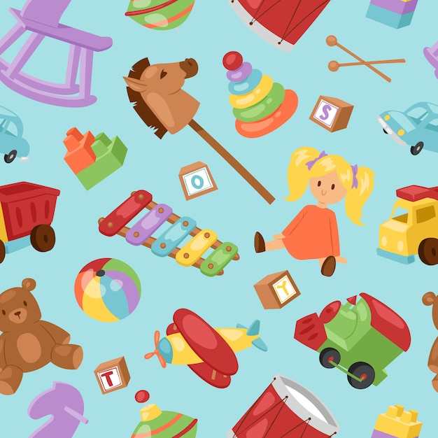 Set of different cartoon kids toys collection background ...