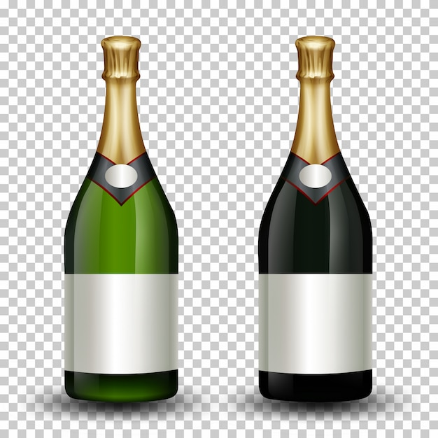 Set of different champagne bottle Free Vector