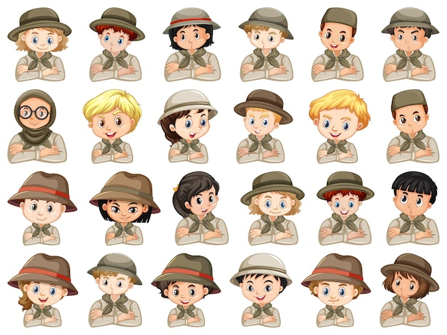 Set of different characters of boys and girls scout costume on a white background Free Vector