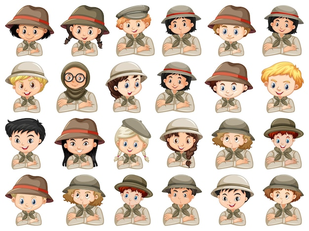 Set of different characters of boys and girls scout costume Free Vector
