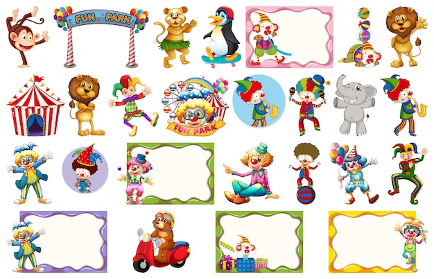 Set of different circus objects, animals and frames Premium Vector