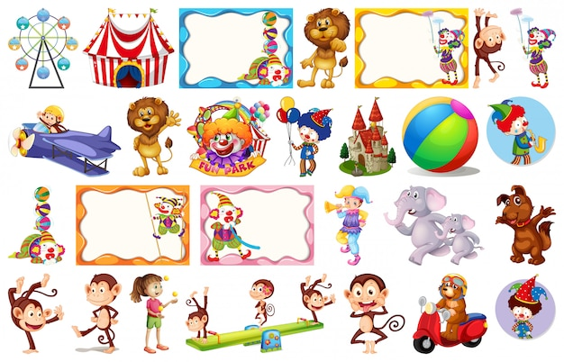 Set of different circus objects Free Vector