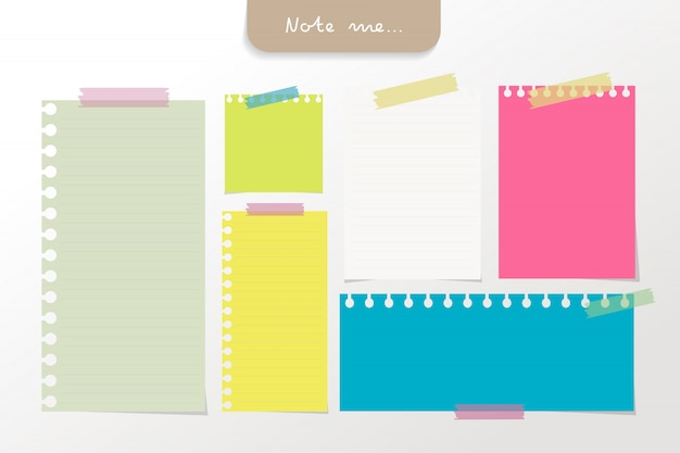 Set of different color note papers and tape elements. Premium Vector