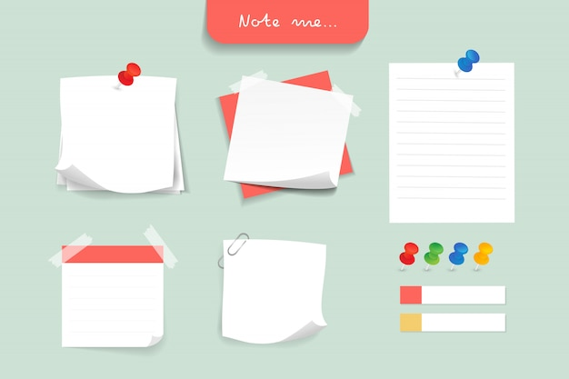 Set of different color note papers. Premium Vector