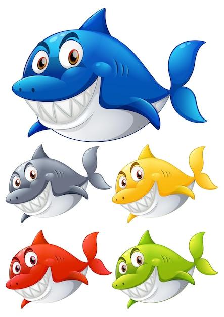 Set di personaggio dei cartoni animati sorridente dello squalo di colore diverso su priorità bassa bianca Vettore gratuito