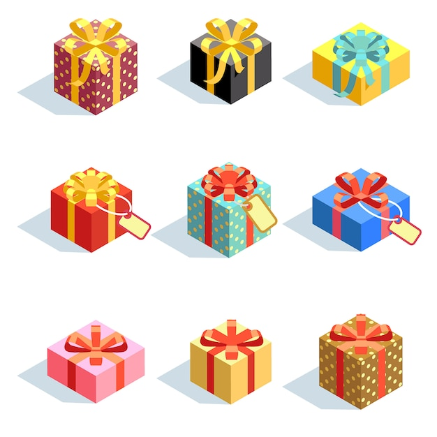 Set of different colored 3d giftboxes with ribbons isolated. flat vector illustration. collection of gift box package surprise with ribbon Premium Vector