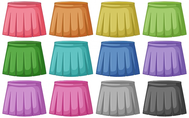 Set of different colored skirts Free Vector