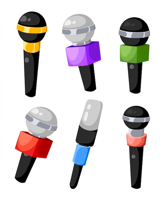 Set of different colors microphones for tv or radio of air microphones for the press of different tv channels  illustration  on white background web site page and mobile app . Premium Vector
