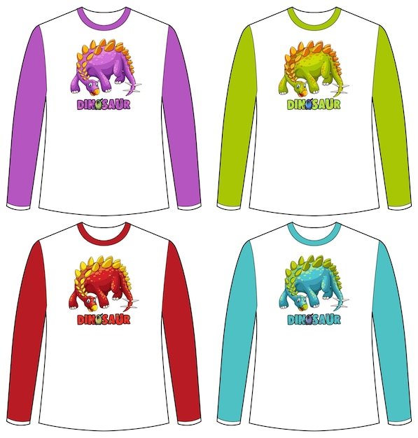 Set of different colour dinosaur screen on long sleeve t-shirt Free Vector