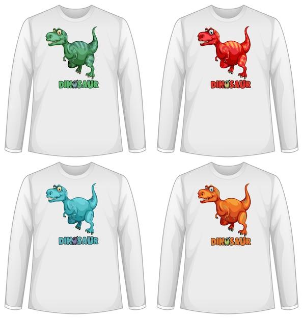 Set di schermo di dinosauro di colore diverso su t-shirt a maniche lunghe Vettore gratuito