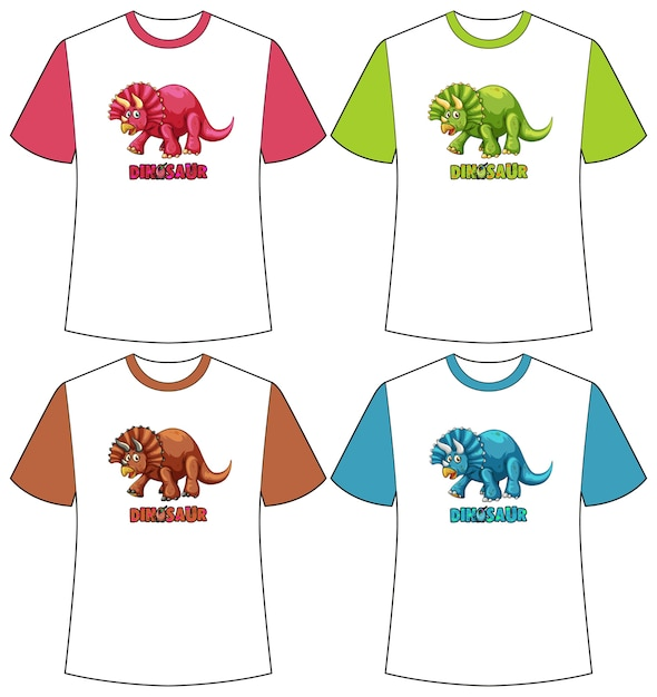 Set of different colour dinosaur screen on t-shirts Free Vector