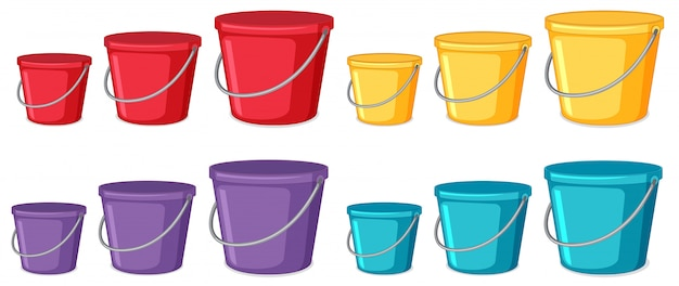 Set of different coloured buckets Premium Vector