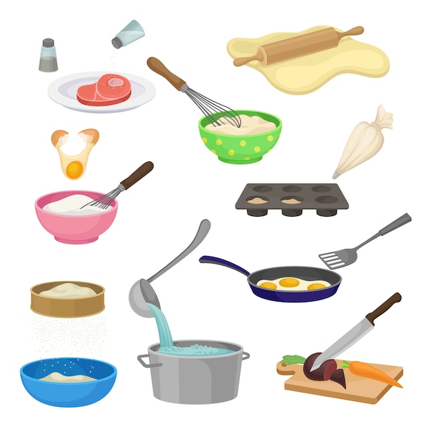 Set of different cooking processes.  illustration. Premium Vector