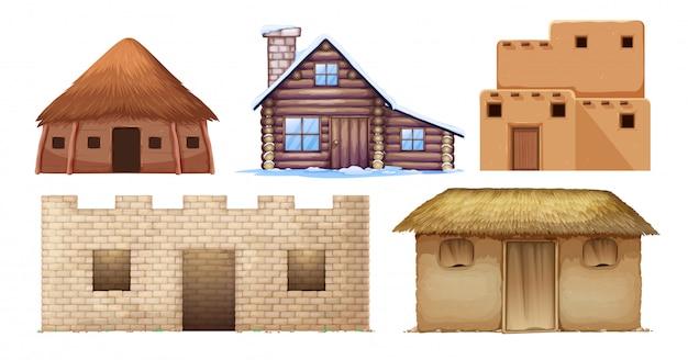 Set of different culture houses Premium Vector
