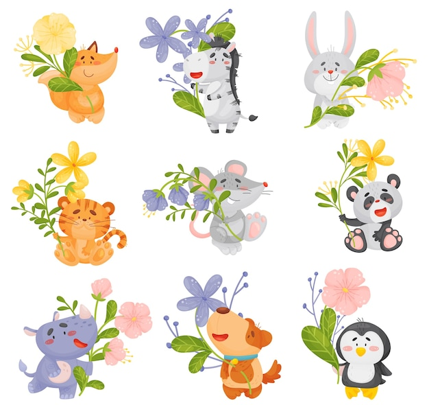 Set of different cute animals with flowers Premium Vector