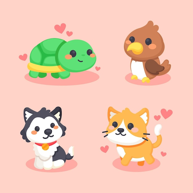 Set of different cute animals Free Vector