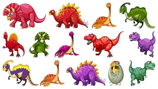 Set di diversi personaggi dei cartoni animati di dinosauro isolati su sfondo bianco Vettore gratuito