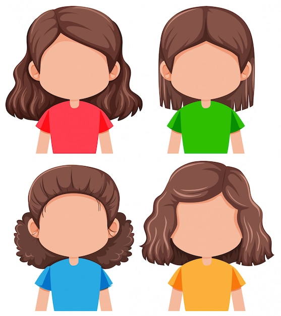 Set of different faceless girl Free Vector