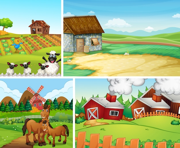 Set of different farm scenes cartoon style Free Vector