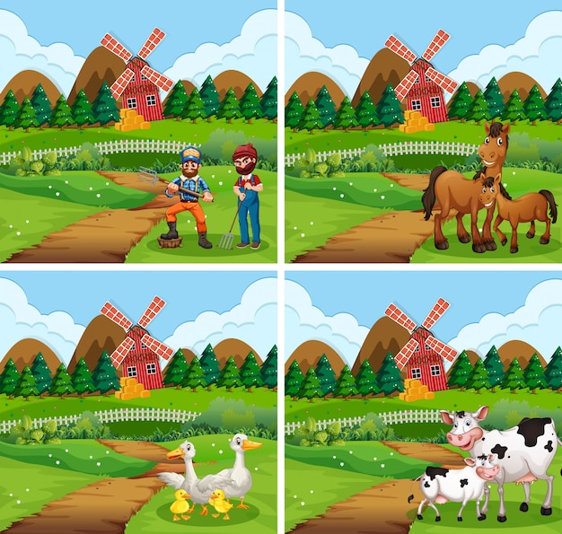 Set of different farm scenes with animals and people Free Vector