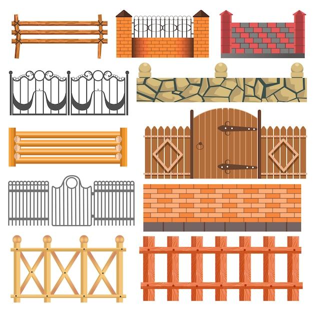 Set of different fence design Premium Vector