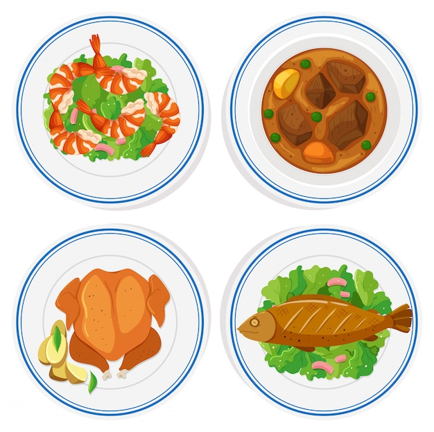 Set of different food on round plates Free Vector