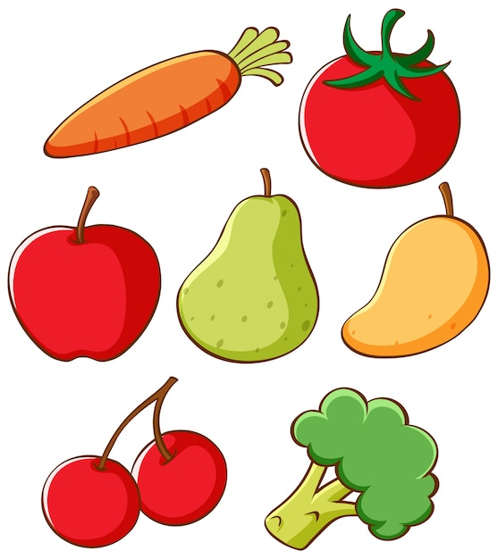 Set of different fruits and vegetables Free Vector