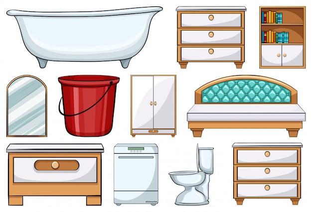 Set of different furniture elements Free Vector