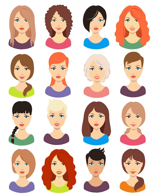 Premium Vector Set Of Different Girl S Hairstyle For Medium And Long Hair Red Blonde Brunette And Black Hair
