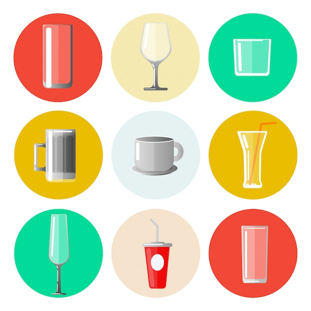 Set of different glasses and cups Premium Vector