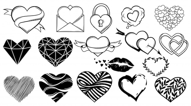 Set of different hearts. collection of design elements for valentine's day. symbol of love. Premium Vector