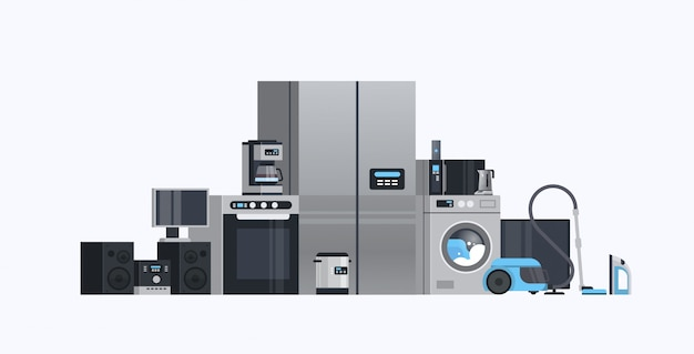 Set different home appliances electric house equipment collection flat horizontal Premium Vector