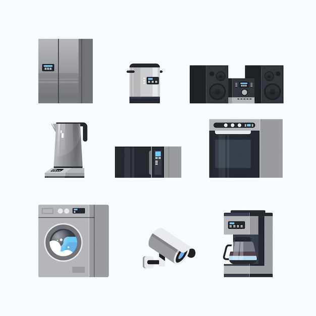 Set different home appliances electric house equipment collection flat white background Premium Vector