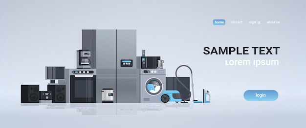 Set different home appliances kit electric house equipment collection flat horizontal copy space Premium Vector