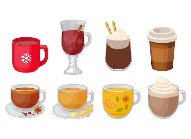 Set of different hot beverage  illustration isolated on white background. coffee, mulled wine, spicy tea, hot chocolate, ginger tea . Premium Vector