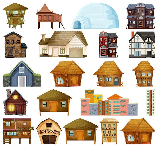 Set of different house Free Vector