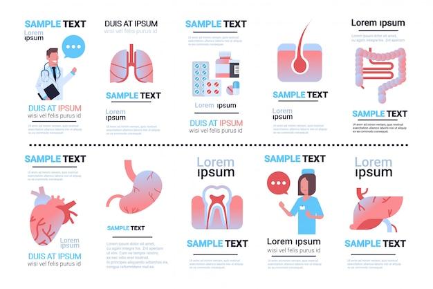 Установить различные внутренние органы человека инфографики коллекции Premium векторы