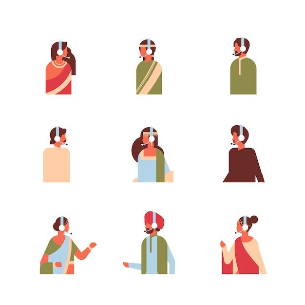 Set different indian man woman headphones avatar call center online service support Premium Vector