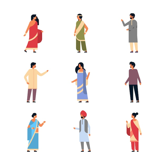 Set different indian people wearing national traditional clothes Premium Vector