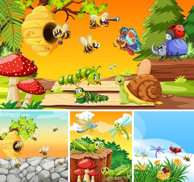 Insieme di diversi insetti che vivono sullo sfondo del giardino Vettore gratuito