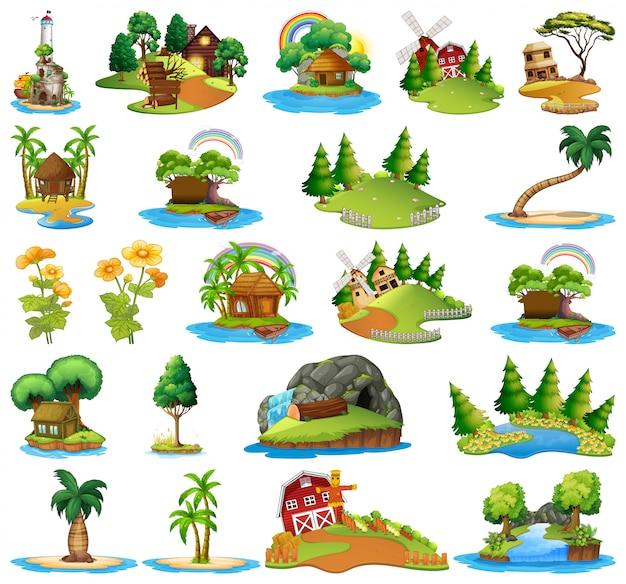 Set of different island scenes Free Vector